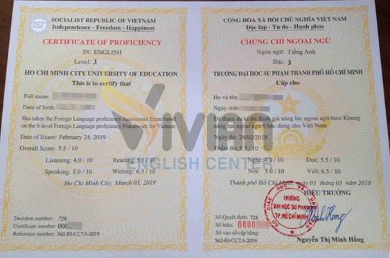 Mẫu chứng chỉ tiếng Anh B1 Đại học Sư phạm Tp Hồ Chí Minh