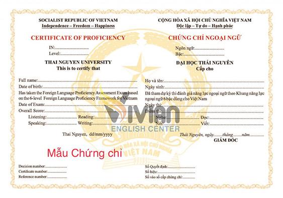 Mẫu chứng chỉ tiếng Anh A2, B1, B2, C1 Đại học Thái Nguyên